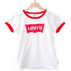 LEVI'S the Perfect Logo Tee White and Red Large